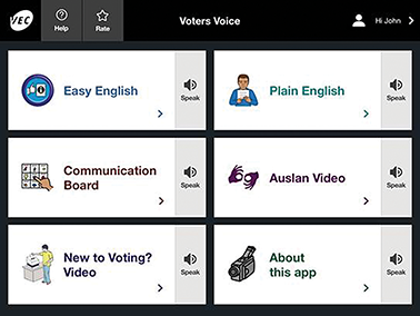Voter Voice screenshot of the interface