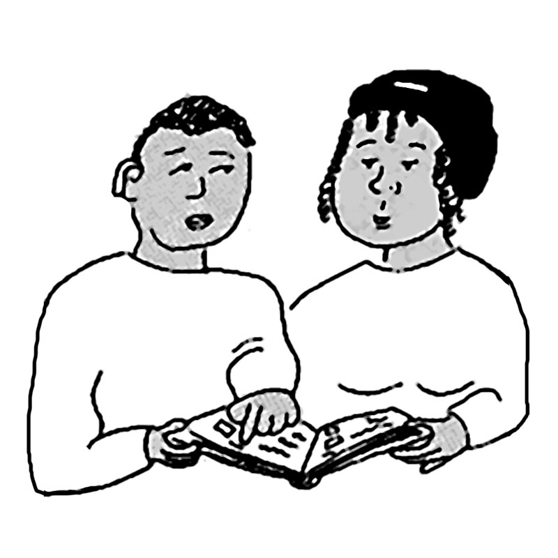 a drawing of two people looking at a book about politics