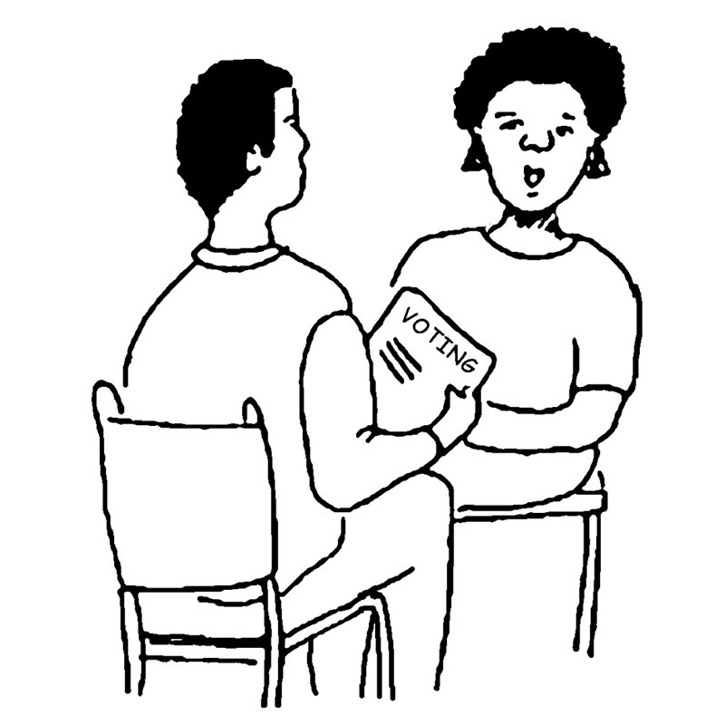 A drawing of two people sitting and talking about voting